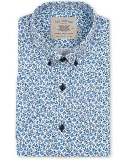 Blue Floral Print Short Sleeve Casual Shirt