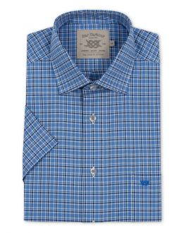 Blue, White and Navy Checked Short Sleeve Casual Shirt