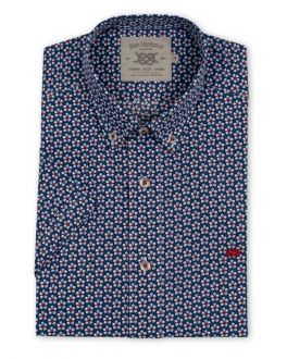 Navy and Red Flower Print Short Sleeve Casual Shirt