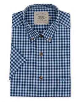 Blue Gingham Button Down Short Sleeve Casual Shirt