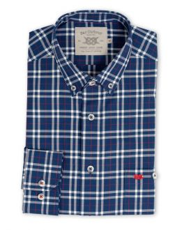 Navy, White and Red Check Long Sleeve Casual Shirt