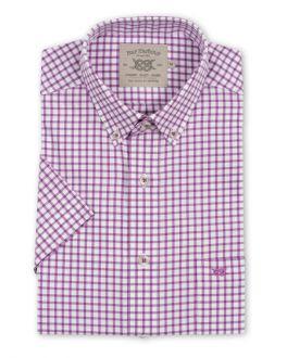 Purple Mini Check Button Down Short Sleeve Shirt