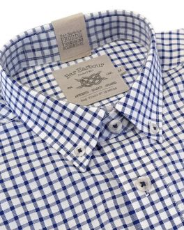 Navy Mini Check Oxford Weave Button Down Short Sleeve Shirt