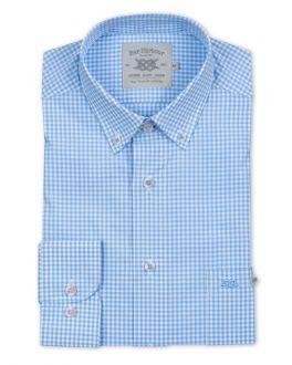 Pale Blue Mini Check Long Sleeve Casual Shirt
