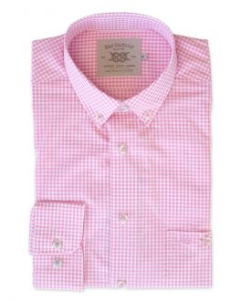 Pink Gingham Long Sleeve Casual Shirt