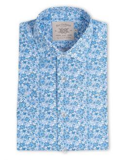 Blue Floral Print Short Sleeve Causal Shirt
