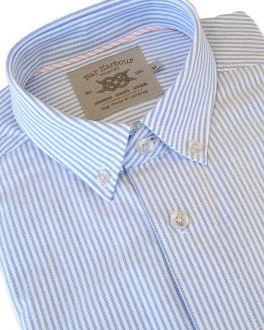 Oxford Weave Blue Stripe Long Sleeve Casual Shirt