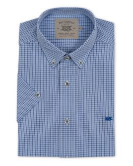 Blue and Navy Thin Check Short Sleeve Casual Shirt