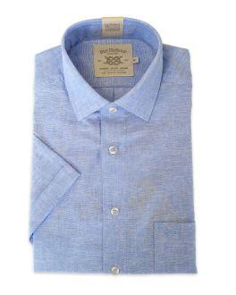 Blue Linen Blend Short Sleeve Casual Shirt