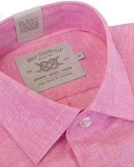 Raspberry Linen Blend Short Sleeve Casual Shirt