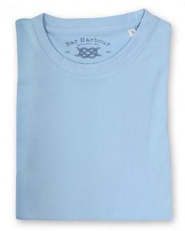Plain Pale Blue Ribbed Neck T-Shirt