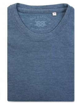 Bar Harbour Plain Petrol Marl Ribbed Neck T-Shirt Flat
