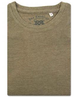 Bar Harbour Plain Moss Marl Ribbed Neck T-Shirt Flat