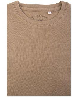 Brown Marl Ribbed Neck T-Shirt