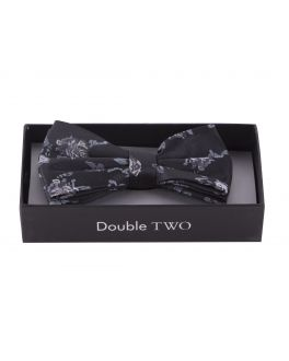Double TWO Blue Floral Bow Tie