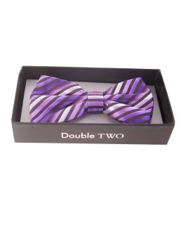 Purple Striped Bow Tie