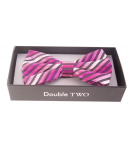 Pink Striped Bow Tie