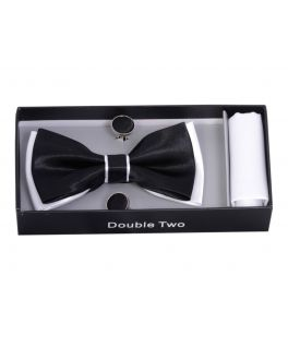 Black and White Bow Tie, Handkerchief and Cufflink Gift Set