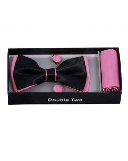 Pink and Black Bow Tie, Handkerchief and Cufflink Gift Set