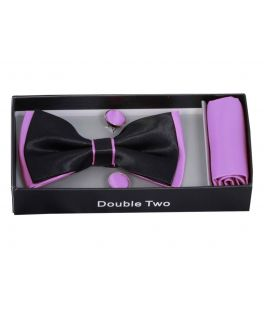 Lilac and Black Bow Tie, Handkerchief and Cufflink Gift Set