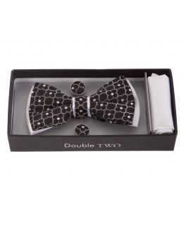 Black Patterned Bow Tie, Handkerchief and Cufflink Gift Set