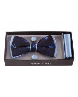 Blue Floral Bow Tie, Handkerchief and Cufflink Gift Set