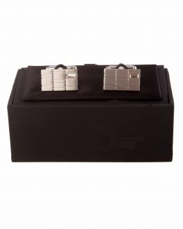 Chrome Brushed Rectangle Patterned Cuff Links