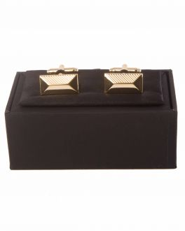 Gold Bevel Rectangle Patterned Cuff Links