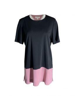 Black Women's Tunic with Pink Bottom Strip