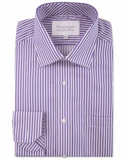 Purple Stripe Luxury Pure Cotton Non-Iron Shirt