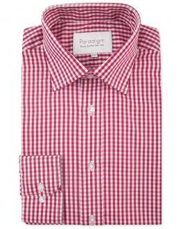 Red Check Luxury Pure Cotton Non-Iron Shirt