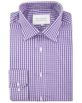 Purple Check Luxury Pure Cotton Non-Iron Shirt