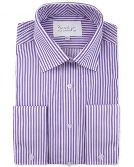 Purple Stripe Double Cuff Luxury Pure Cotton Non-Iron Shirt