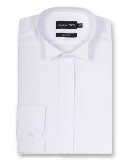 Slim Fit White Wing Collar Plain Dress Shirt
