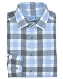 Grey Herringbone Check Long Sleeve Casual Shirt
