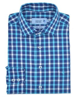 Turquoise Herringbone Check Long Sleeve Casual Shirt