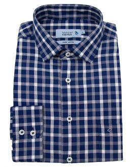Grey & Navy Herringbone Check Long Sleeve Casual Shirt