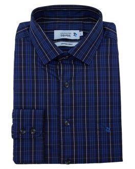 Blue Plain Weave Check Long Sleeve Casual Shirt