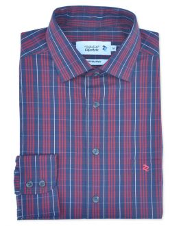 Red Plain Weave Check Long Sleeve Casual Shirt