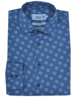 Indigo Printed Long Sleeve Casual Shirt