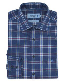 Blue Striped Check Long Sleeve Casual Shirt