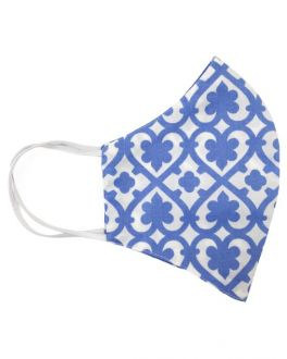 Blue Heart Print Cotton Face Mask