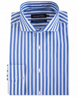 Blue and White Bold Striped Easy Care Formal Shirt