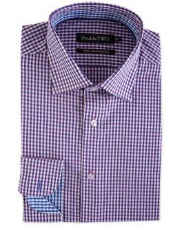 Berry Mini Check Formal Shirt