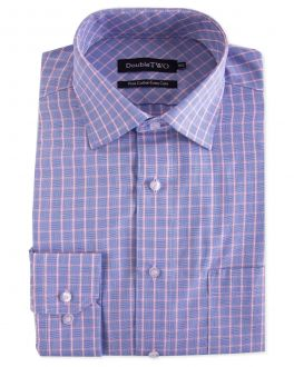 Blue and Pink Grid Check Formal Shirt