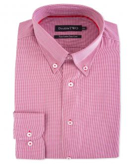 Red Gingham Button Down Formal Shirt