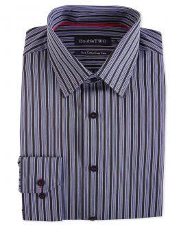 Black Varied Satin Stripe Formal Shirt