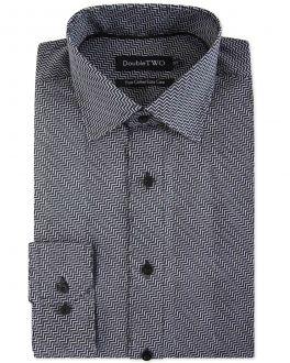 Black Zigzag Print Formal Shirt