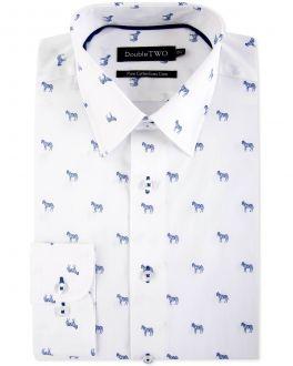 White Zebra Print Formal Shirt