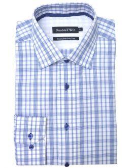 Navy Blue Multi-Striped Check Formal Shirt